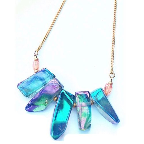 $49.99 TITANIUM DUSTED QUARTZ BOHO NECKLACE