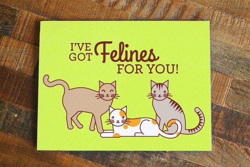 $4.49 I'VE GOT FELINES FOR YOU GREETING CARD