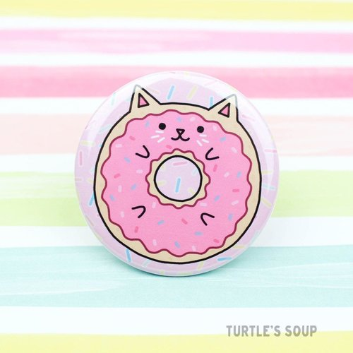 $1.99 DONUT CAT PINBACK BUTTON
