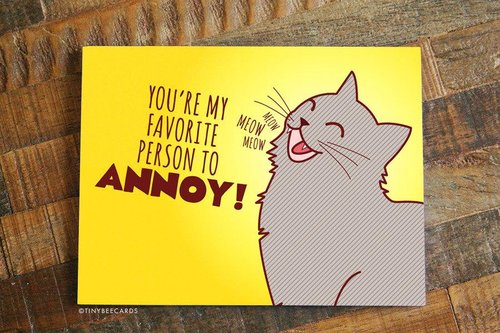 $4.49 YOU'RE MY FAVORITE PERSON TO ANNOY CAT GREETING  CARD