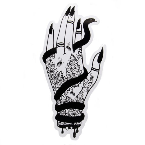 $6.99 WICKED HAND WITH SNAKE AND HEMLOCK STICKER