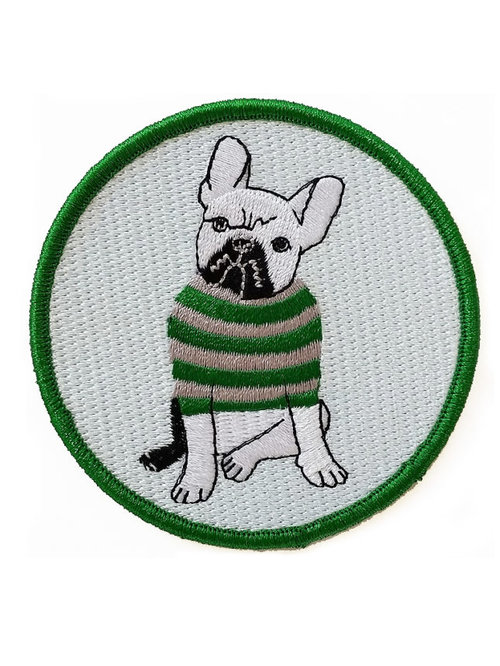 $11.99 FRENCH BULLDOG IN SWEATER EMBROIDERED PATCH