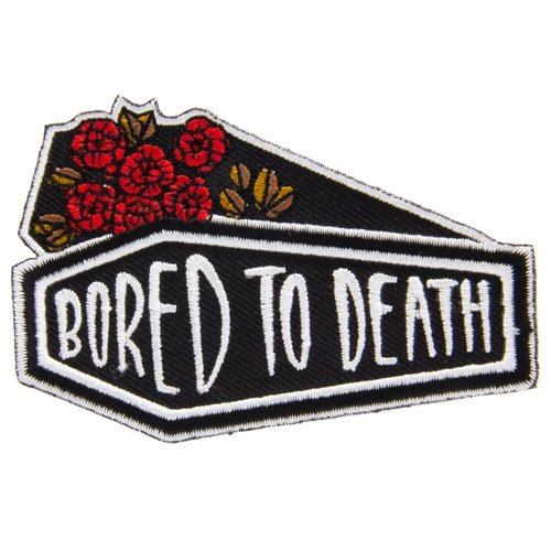 $9.99 BORED TO DEATH COFFIN & ROSES PATCH