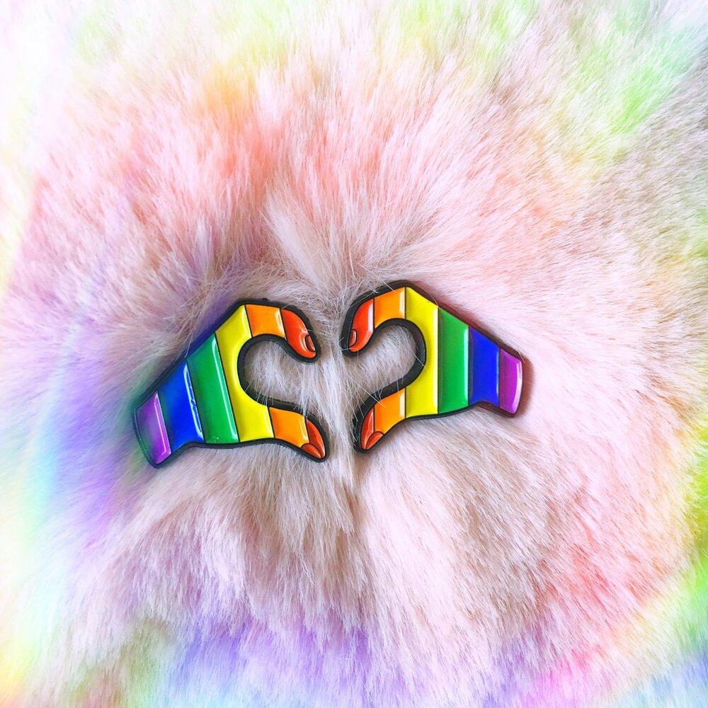 $12.99 RAINBOW PRIDE HEART HANDS PINS (SET OF 2)