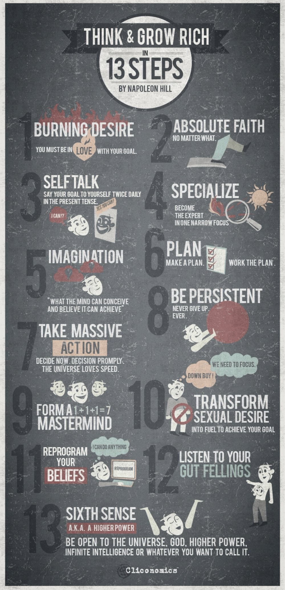 infographic 13 principles of think and grow rich