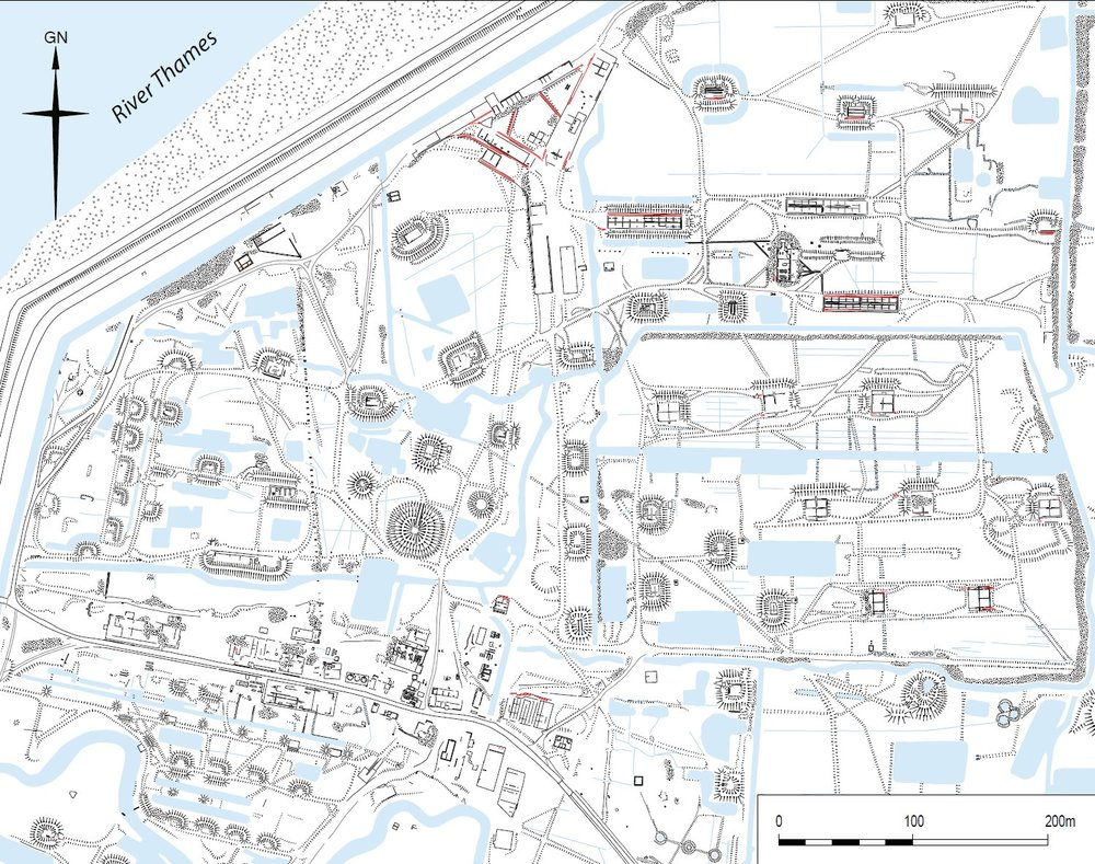 The north-western part of Curtis and Harvey Ltd's explosives factory on Cliffe Marshes taken from the detailed analytical field survey, reduced from the original at 1:10,000. It shows a variety of different features once connected by narrow gauge tramway (surviving rails shown in red). These include the nitroglycerin hill, gun cotton stoves, cordite drying stoves and the acid factory. Historic England.