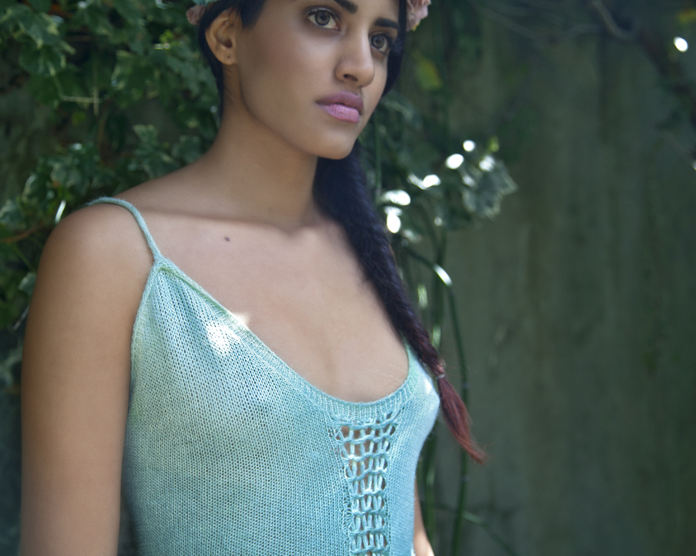 Blue Silk Tank Top by Myth of the West Handmade Fashion Oakland California