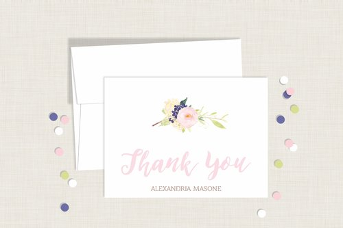 watercolor floral thank you cards personalized nestling design