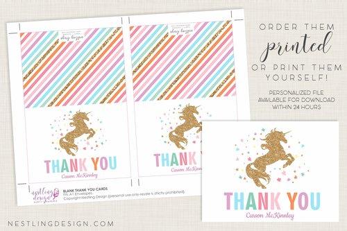 Unicorn Thank You Cards Nestling Design