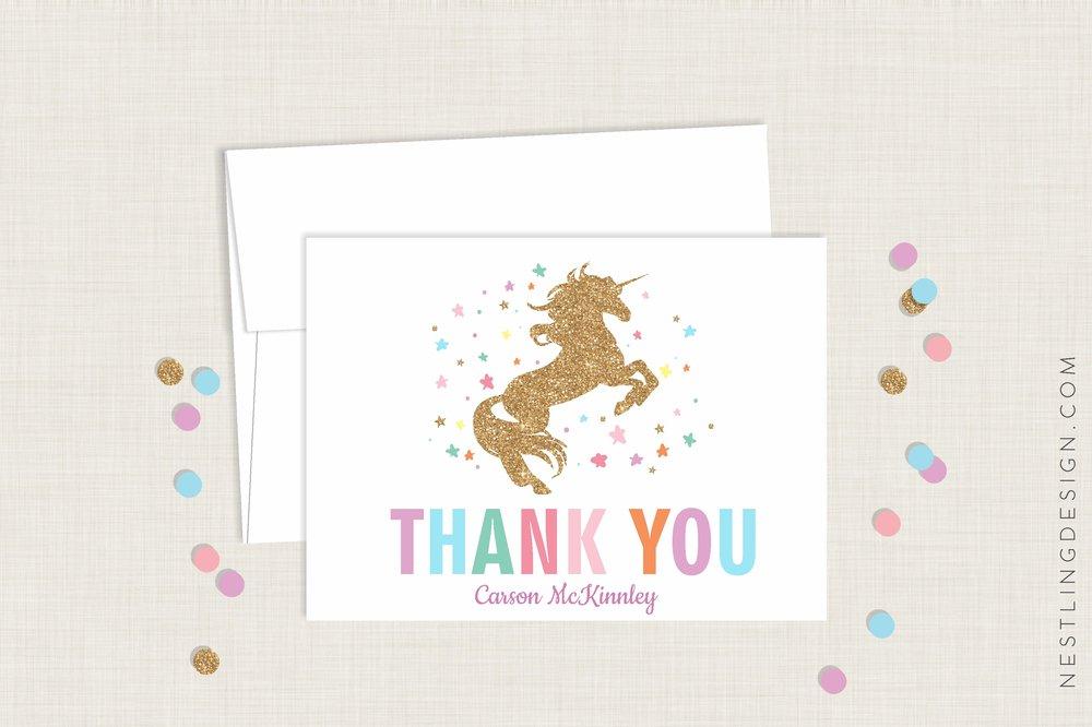 unicorn thank you cards — nestling design
