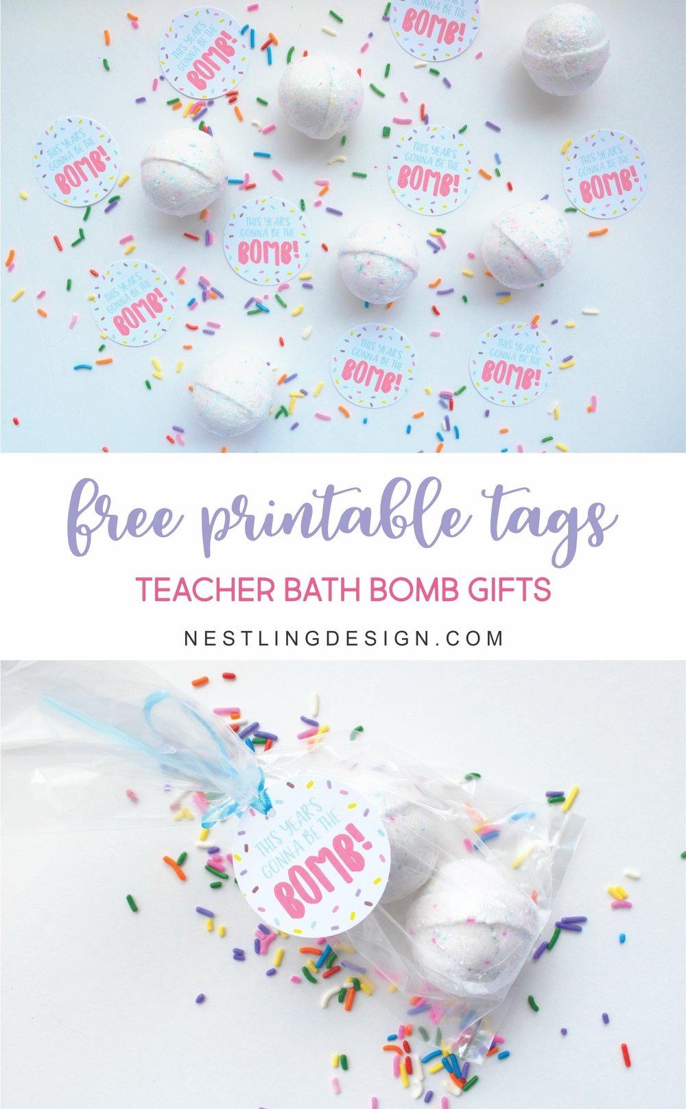 Free Printable Teacher Bath Bomb Gift Tags | NestlingDesign.com