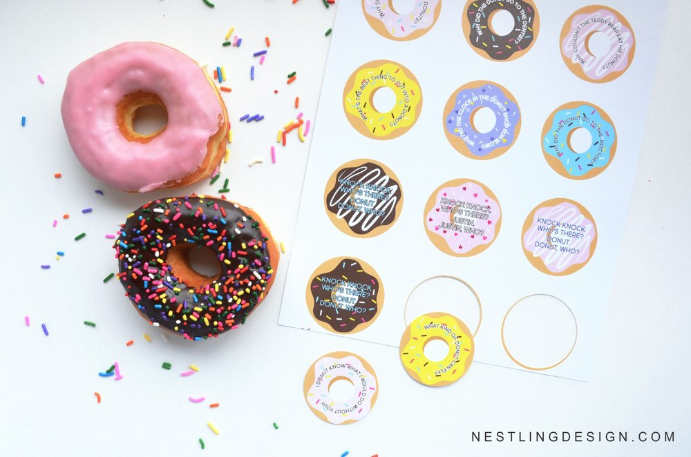FREE printable donut jokes | NestlingDesign.com