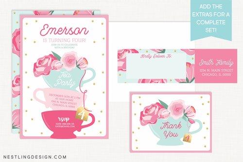 Tea Party Invitation Set  Nestling Design