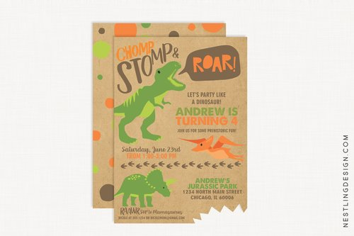 Dinosaur Invitation Brown Nestling Design