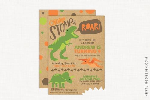 Dinosaur Invitation Brown Nestling Design