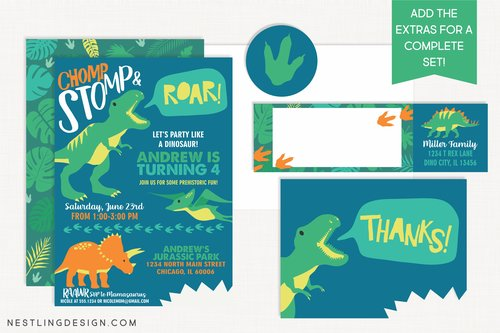 Dinosaur Invitation Blue Nestling Design