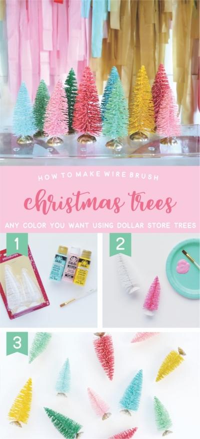 DIY Wire Brush Christmas Trees | NestlingDesign.com
