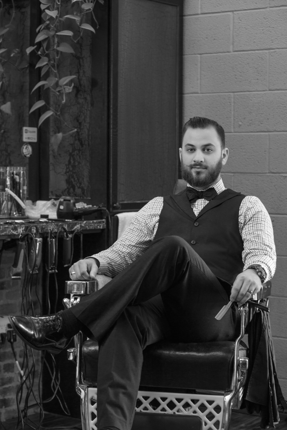 Barber Gentleman Classic Portrait Black and White