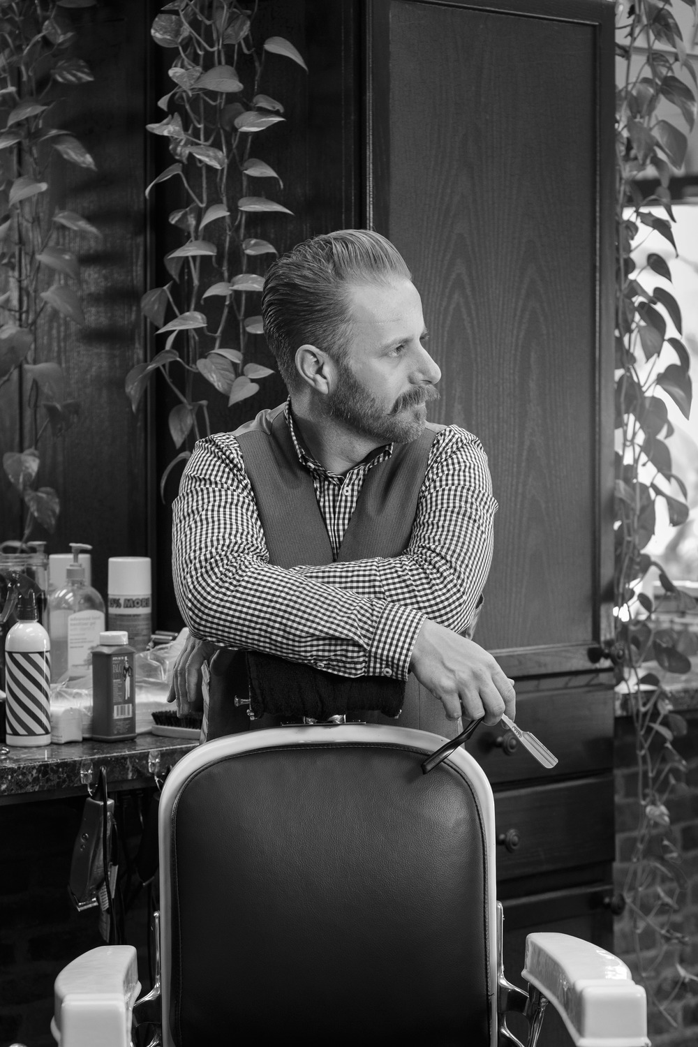 Clean Cut Barber Portrait Black and White