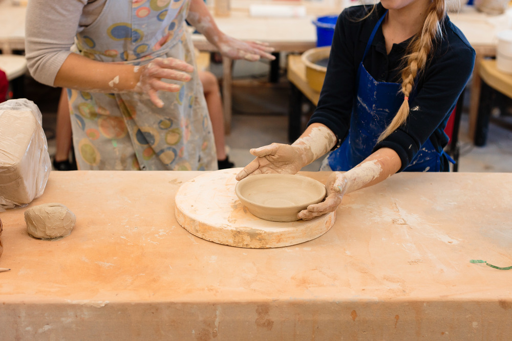 Pottery teacher and student clay bowl St George Utah