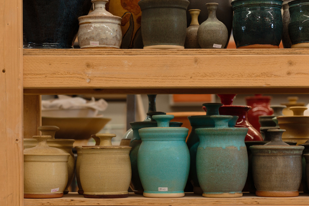 Pottery studio clay pots glaze fired commercial photography