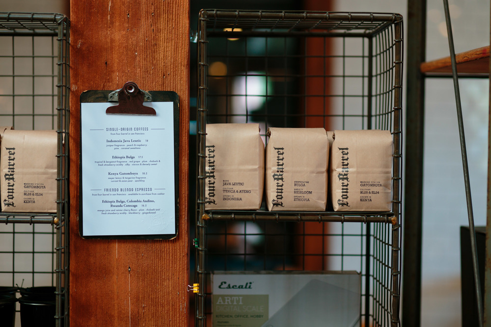 Whole Bean Coffee Bags Four Barrel Coffee Roasters Salt Lake City Utah