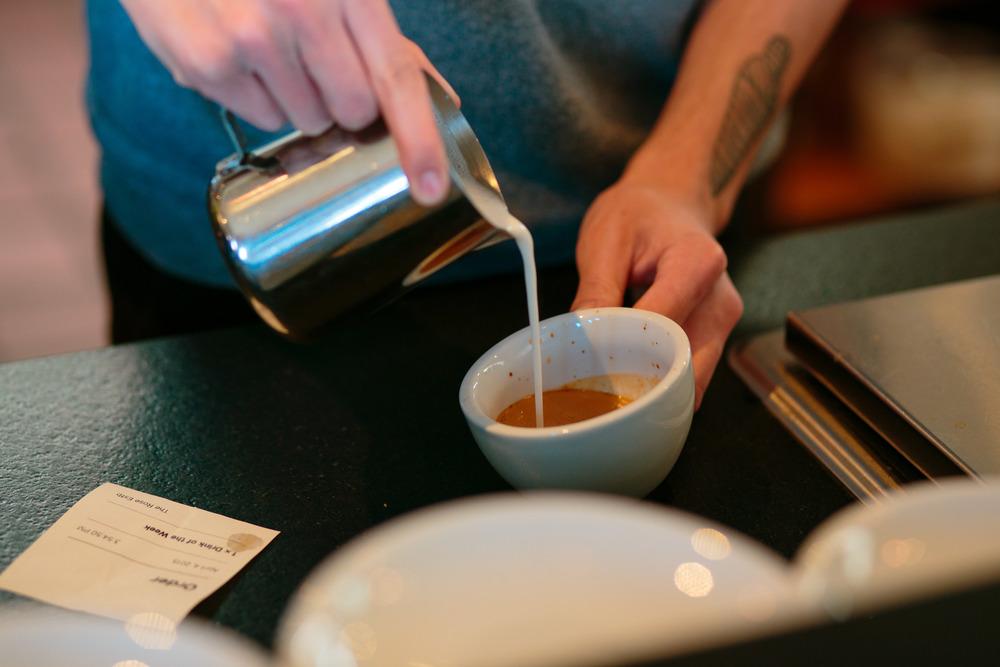 Barista Latte Pour Detail Rose Estb SLC Utah