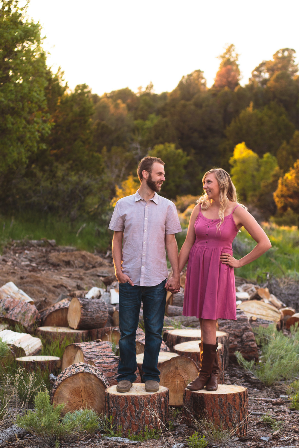 Wood stack couple photographer Utah