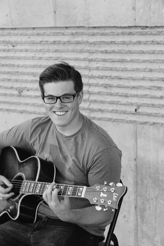Black and white monotone musician guitar Hurricane Utah
