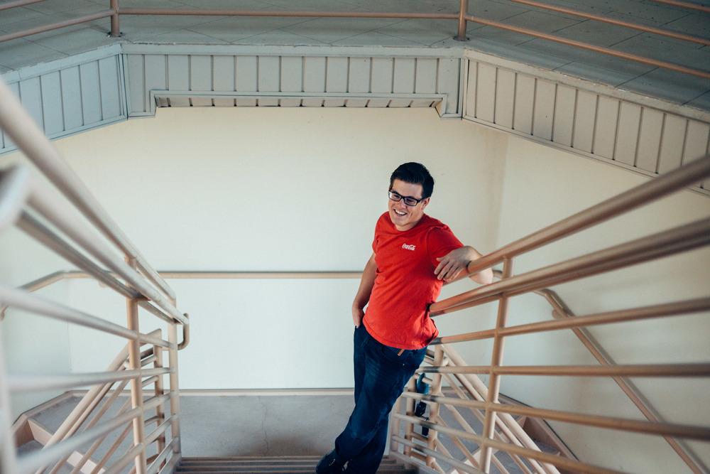 Stairwell portrait musician brand local photographer Utah