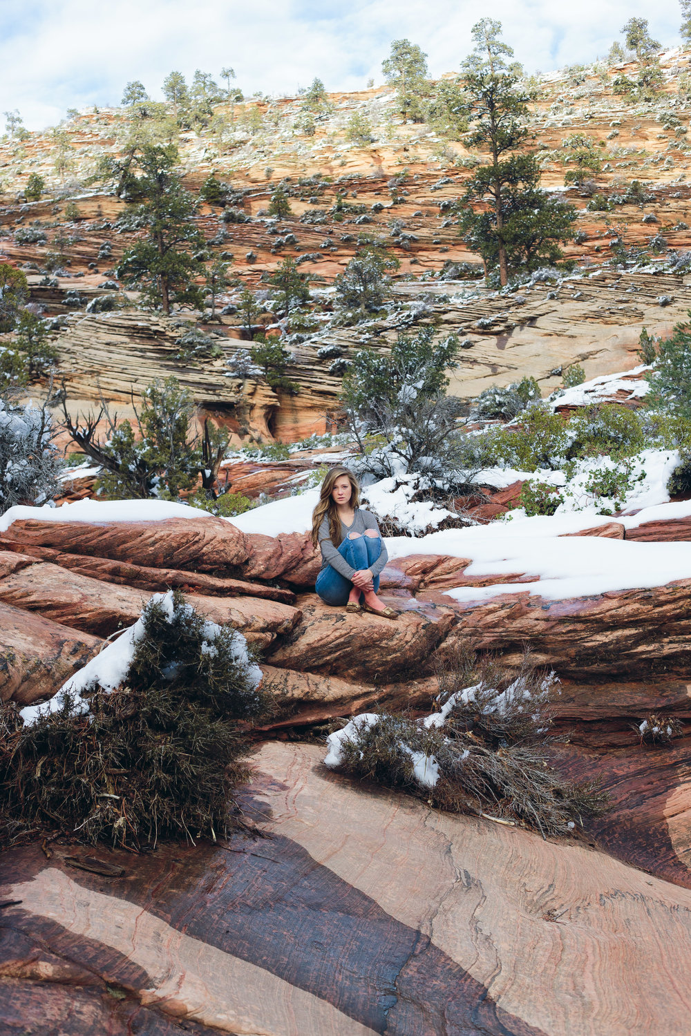 Zion National Park girl model photography winter