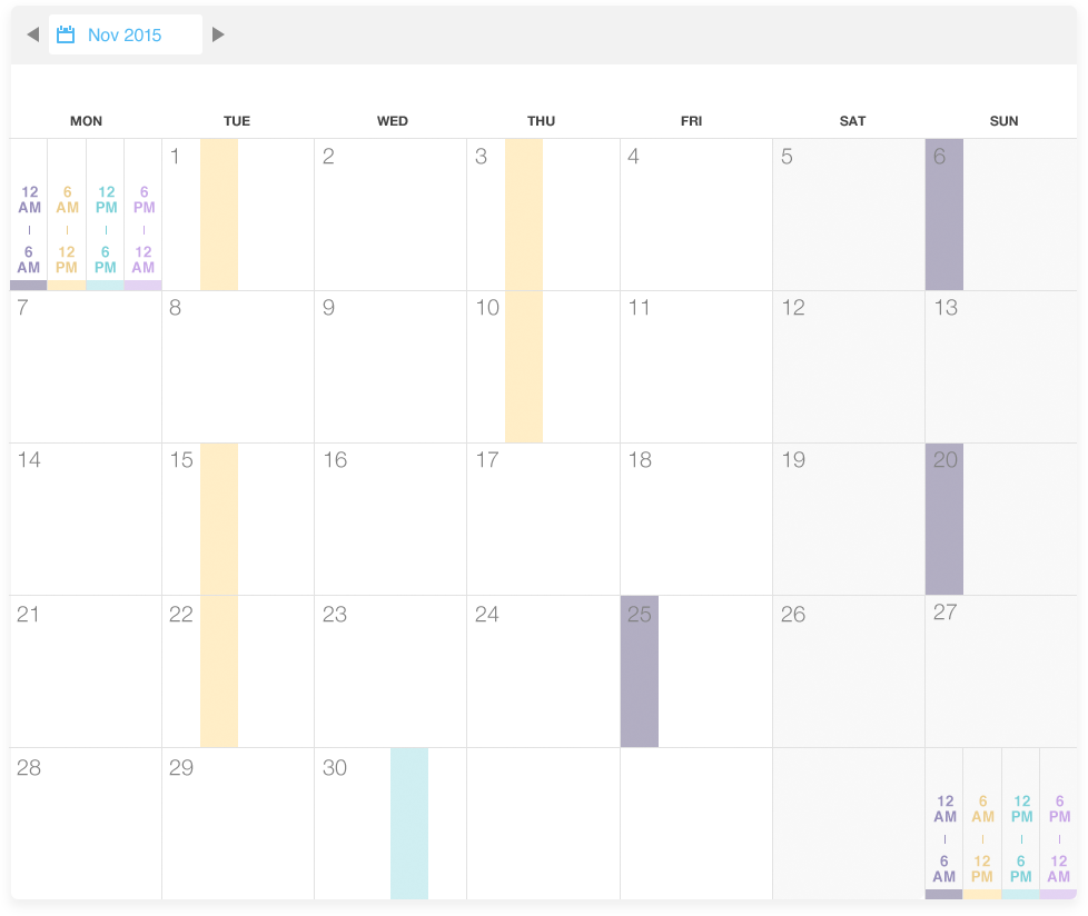 Calendar A simple yet powerful view that shows the time of day that hypoglycemia events occur over the span of a month. An easy way of spotting patterns this view is the predecessor to later projects where we start to really hone in on patterns and algorithms to identify them.