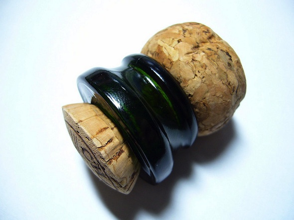 Freshly sabered cork, with annulus attached
