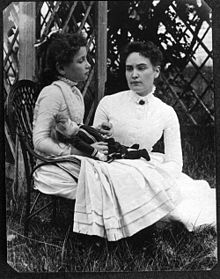 Helen Keller and Ann Sullivan in July 1888.