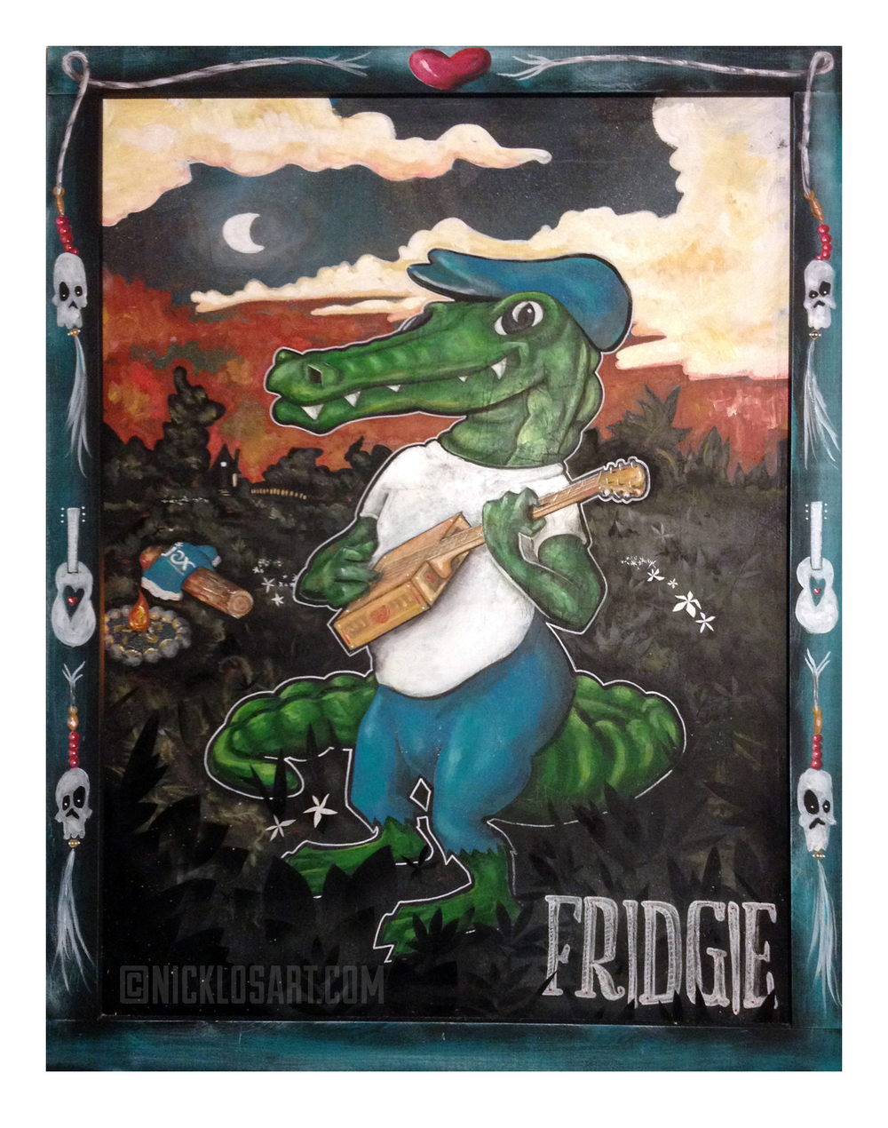 Fridgie Alligator Folk Art