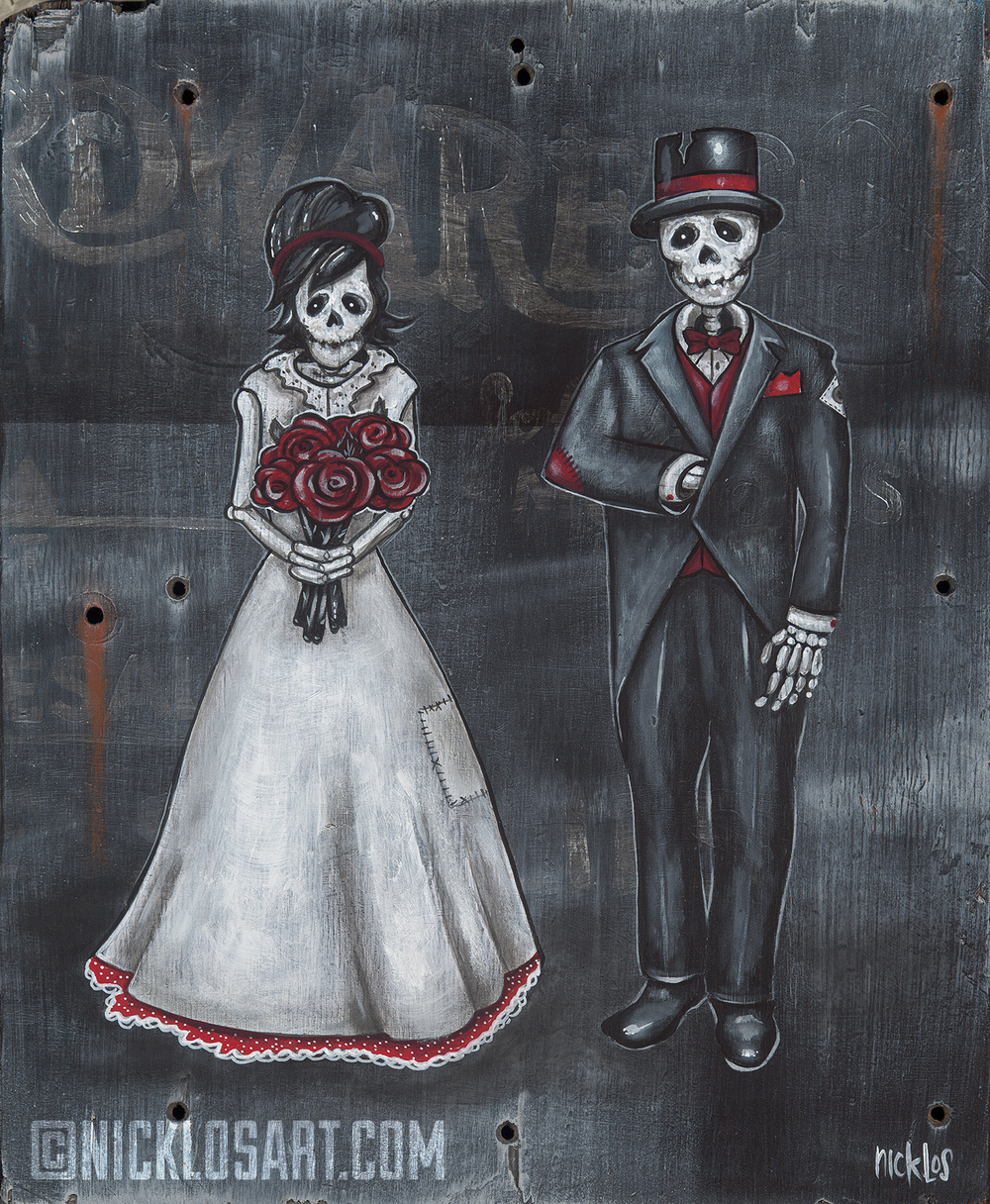 Skeleton Wedding Folk Art