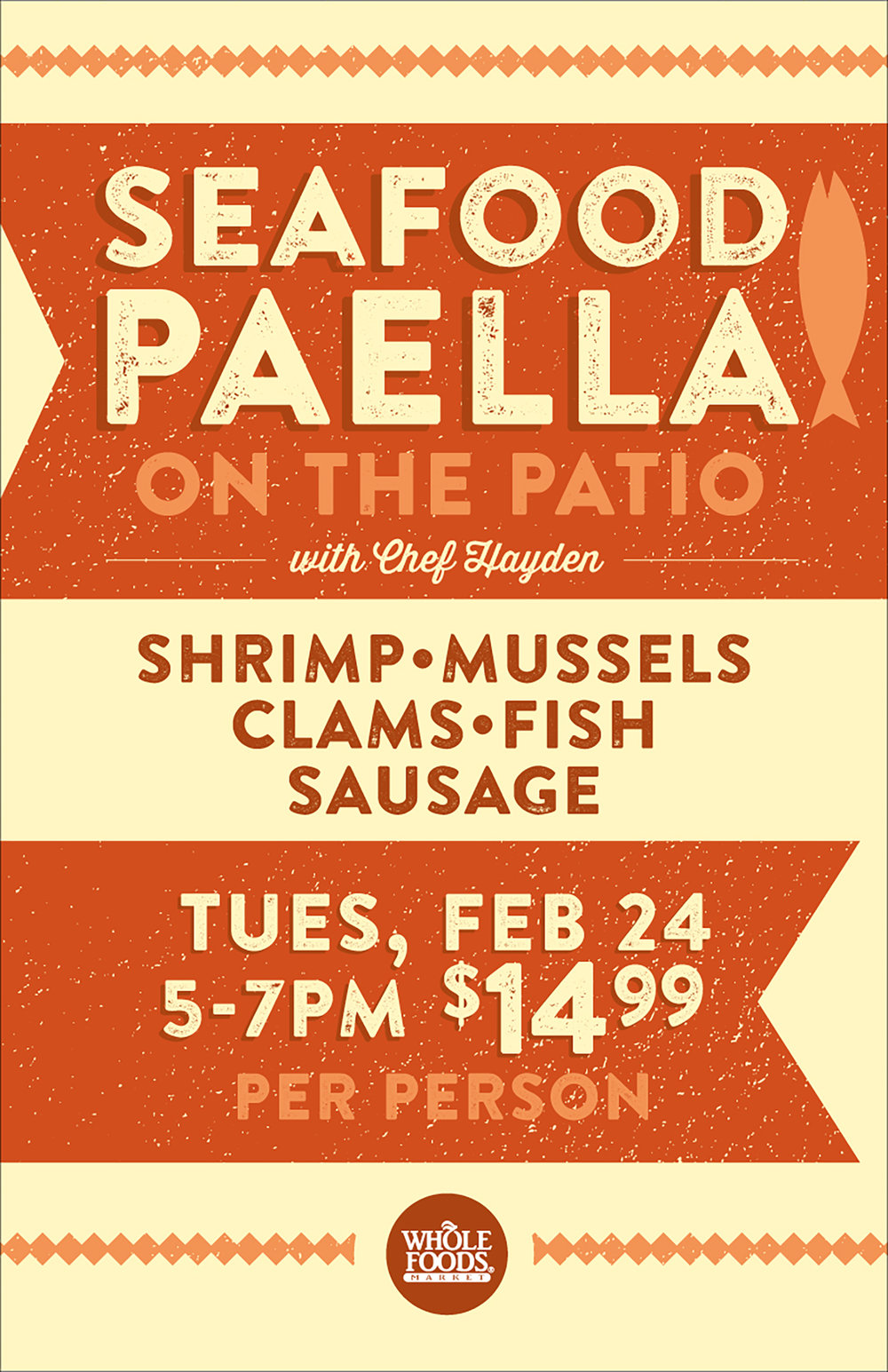 paella on the patio  This poster, along with several social media graphics helped call attention to the event held on the patio of Whole Foods Market - South Lake Union