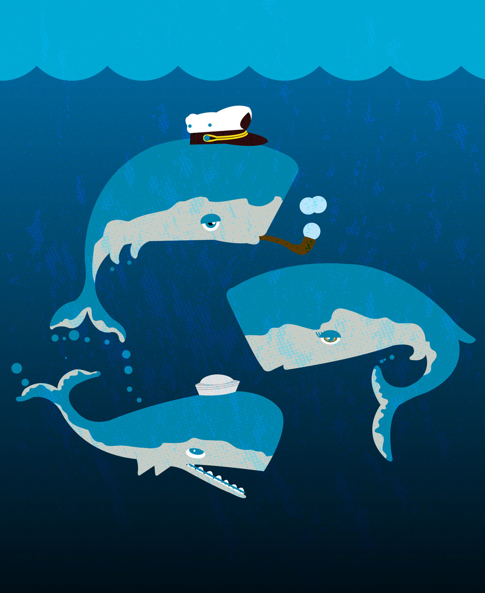 Family pod ilustration  Self guided digital illustration of a pod of whales intended for licensing.