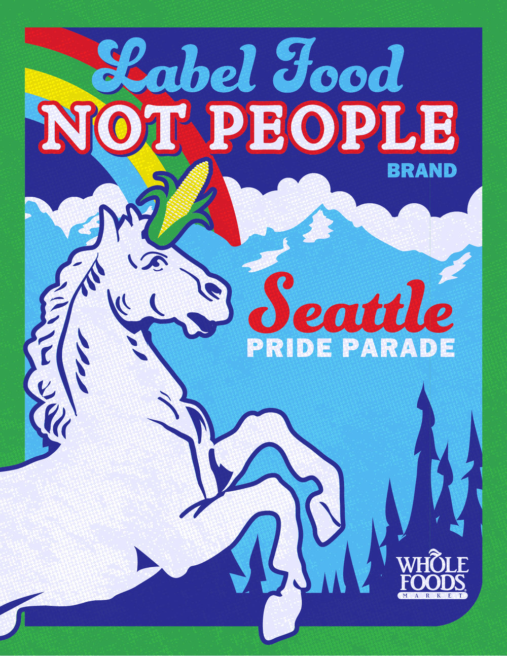 wfm seattle pride branding  Digital illustration that became the base for the Whole Foods Market branding for Seattle Pride Festival