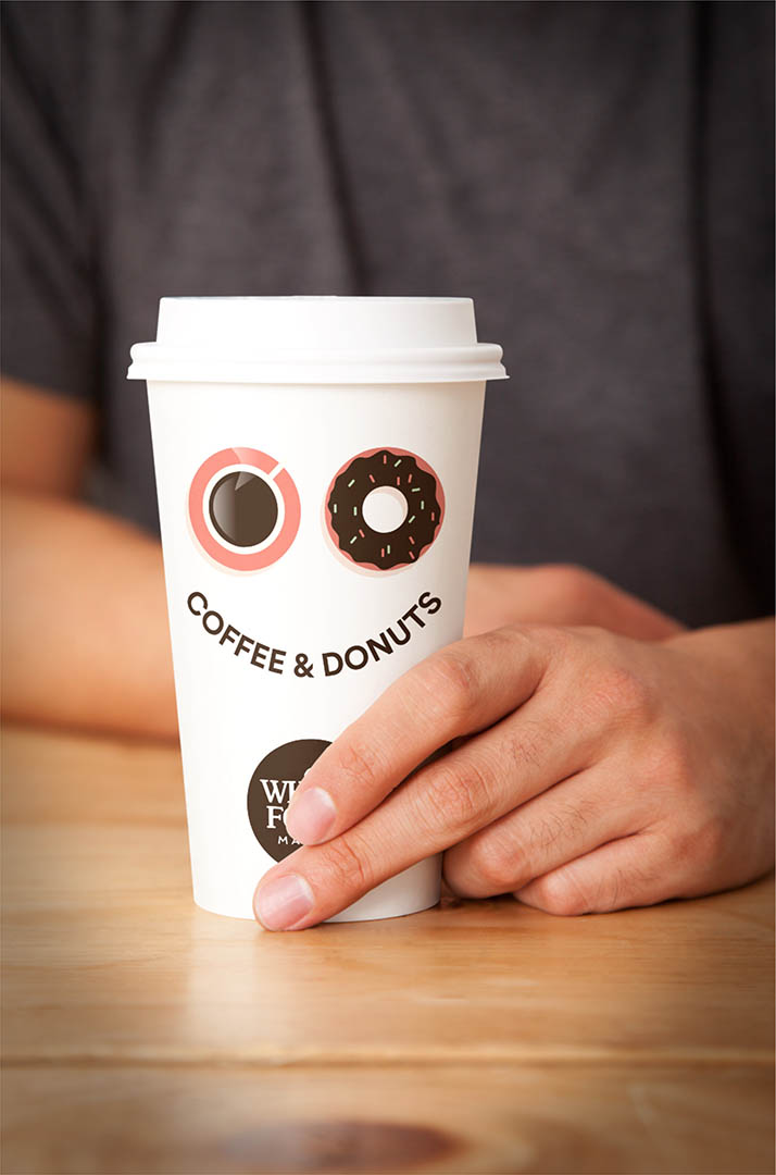 coffee & donuts  Digital illustration for Whole Foods Market coffee cups that was subsequently used on internal posters.