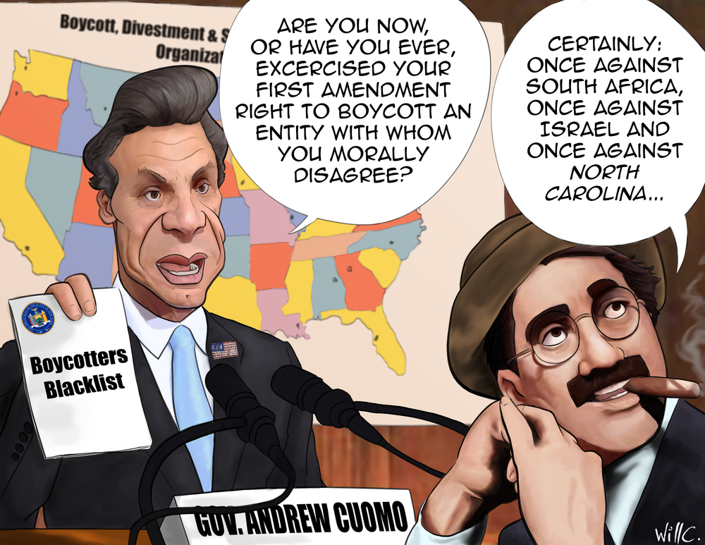 Why is it OK for New York to boycott North Carolina on moral grounds, but not OK for BDS supporters to boycott Israel on moral grounds?