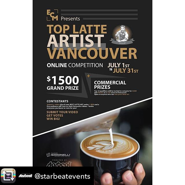 @starbeatevents & @ecm_espresso are hosting latte art competition. KAHVE 's own Rhys @ri.capture submitted his entry video, which was posted @kahvevancouver too. Please vote for Rhys so that he can dance at the live final! Thank you everyone!