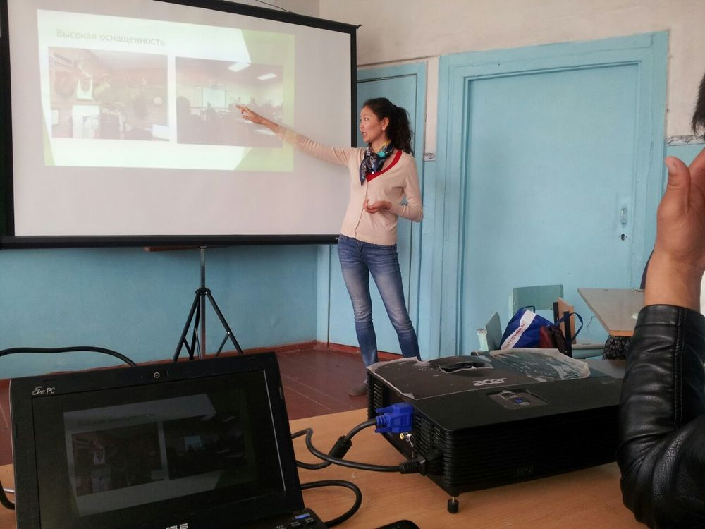 Janyl sharing with her school in Bishkek about her trip to Camp Arizona 2016. Her talk was about how to apply in her school what she learned.