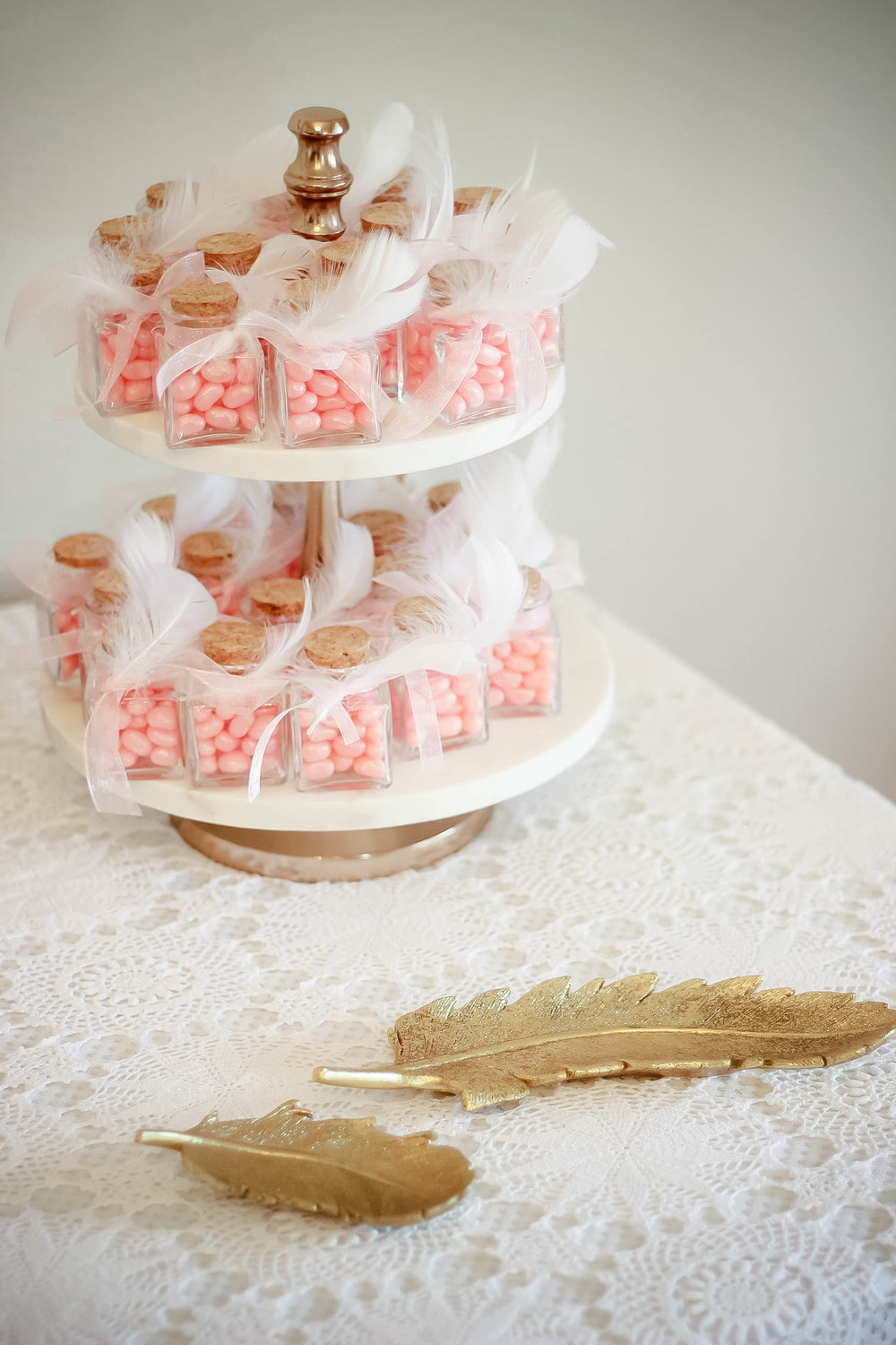 Feather Details from Hobby Lobby and Favors inspired by Pinterest