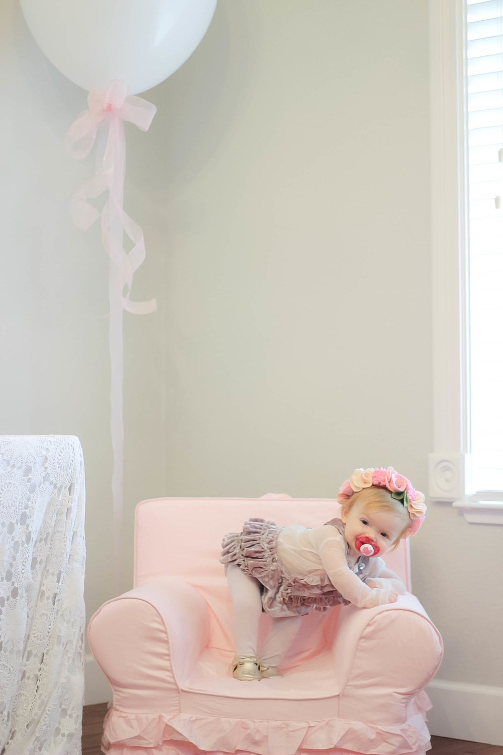 Anywhere Chair by  Pottery Barn Kids  and Isla's Outfit by Paush Mini from  Shop Sweet Threads