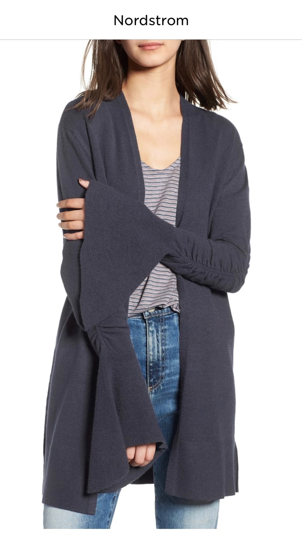 Hinge Ruched Bell Sleeve Cardigan   NAVY INDIA INK, Small  $58.90