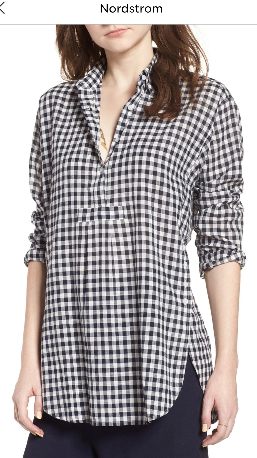 Madewell Gingham Side Button Popover Shirt   DEEP INDIGO, Small  $52.90