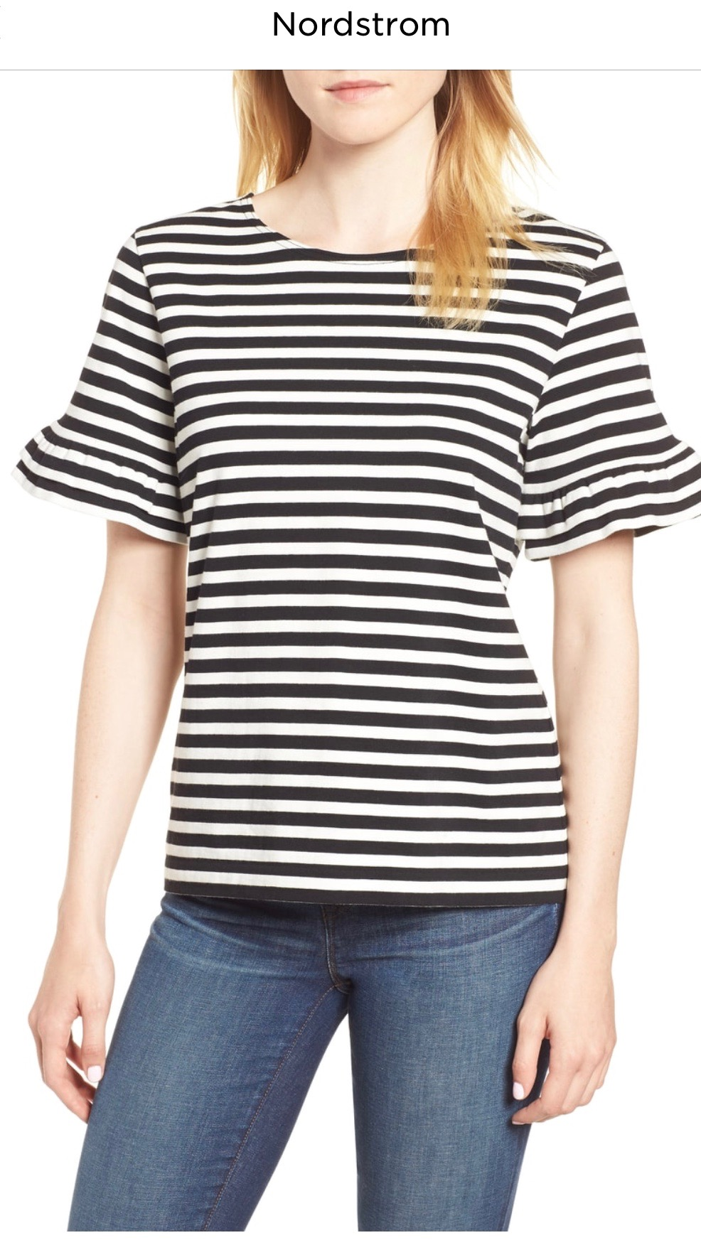 J.Crew Ruffle Sleeve Tee   BLACK WHITE, Small  $32.90