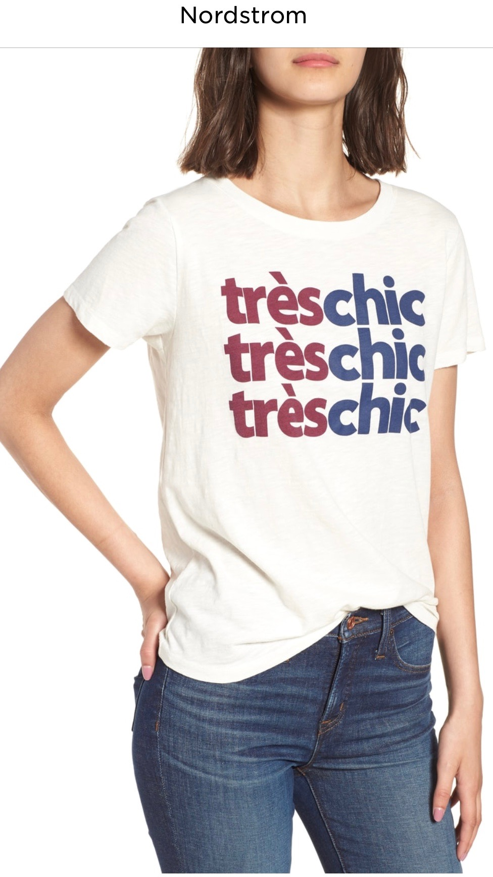 J.Crew Très Chic Tee   IVORY, Small  $29.90