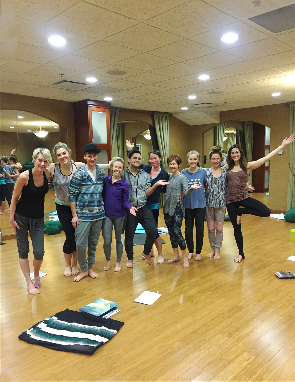 Yoga Teacher Training Class 2.25.2016 | From left to right: Julie, Chrissy, Cody, Jen, Jan, Becky, Constance, Brooklyn, Toni, Davie